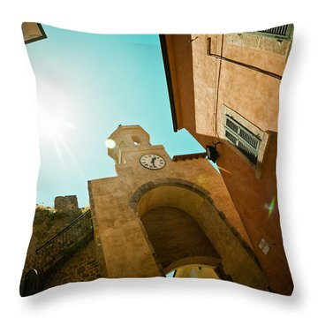 Old Clock On The Tower And Sun Throw Pillow by Raimond Klavins