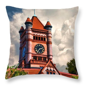 Old Dupage County Courthouse Clouds Throw Pillow by Christopher Arndt
