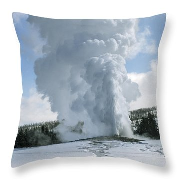 Old Faithful In Her Glory - Yellowstone Throw Pillow by Sandra Bronstein