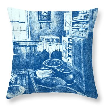 Old Fashioned Kitchen In Blue Throw Pillow by Kendall Kessler
