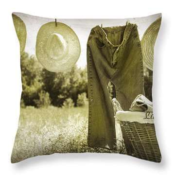 Old Grunge Photo Of Jeans And Straw Hats  Throw Pillow by Sandra Cunningham