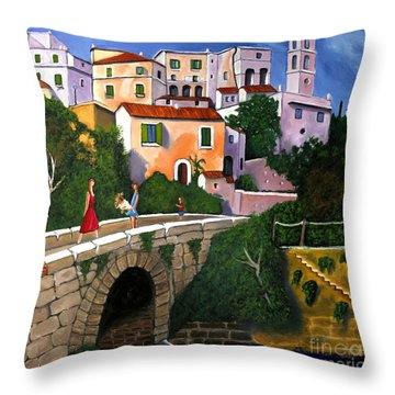 Old Man On Bridge Throw Pillow by William Cain