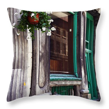 Old Montreal Architecture Throw Pillow by John Rizzuto