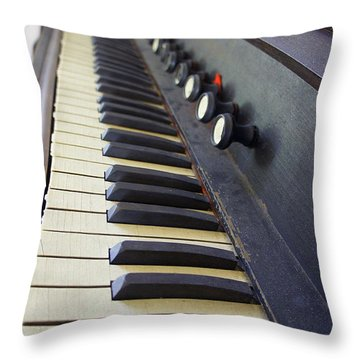 Old Organ Keyboard Throw Pillow by Laurie Perry