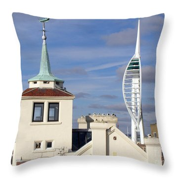 Old Portsmouth's Towers Throw Pillow by Terri Waters