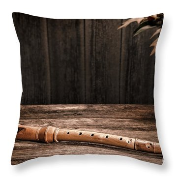 Old Recorder Throw Pillow by Olivier Le Queinec