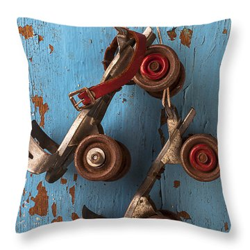 Old Roller Skates Throw Pillow by Garry Gay