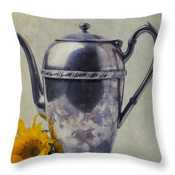Old Teapot With Sunflower Throw Pillow by Garry Gay