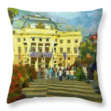Old Town Square Throw Pillow by Jeff Kolker