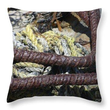 Old Trap Close-up Throw Pillow by Minnie Lippiatt