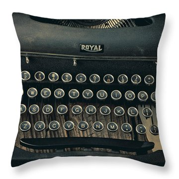 Old Typewriter With Letter Throw Pillow by Garry Gay