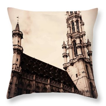 Old World Grand Place Throw Pillow by Carol Groenen