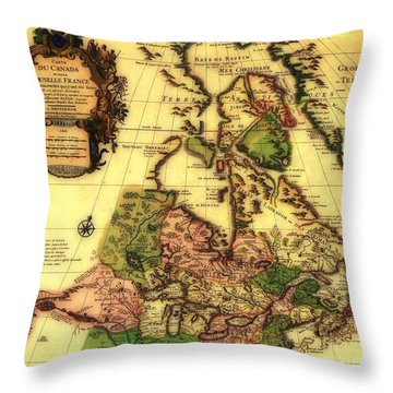 Old World Map Of Canada Throw Pillow by Inspired Nature Photography Fine Art Photography