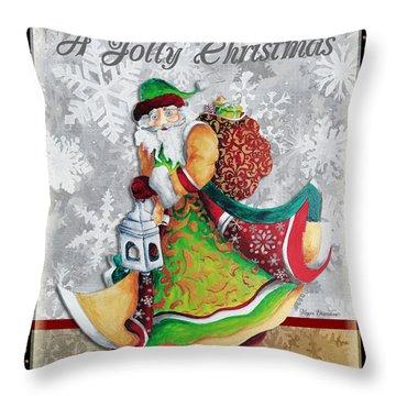 Old World Santa Clause Christmas Art Original Painting By Megan Duncanson Throw Pillow by Megan Duncanson