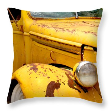 Old Yellow Truck Throw Pillow by Art Block Collections