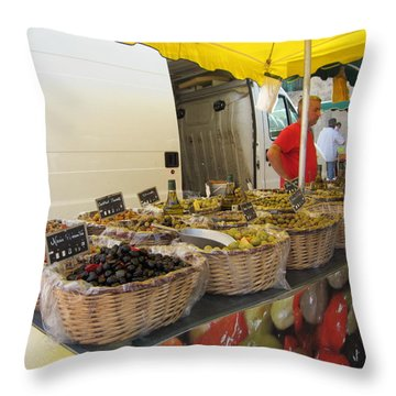 Olives For Sale Throw Pillow by Pema Hou