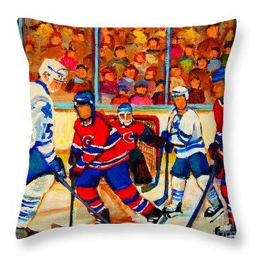 Olympic  Hockey Hopefuls  Painting By Montreal Hockey Artist Carole Spandau Throw Pillow by Carole Spandau