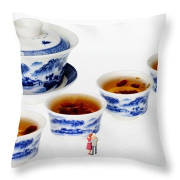 On Porcelain Ink Painting Exhibition Little People On Food Throw Pillow by Paul Ge