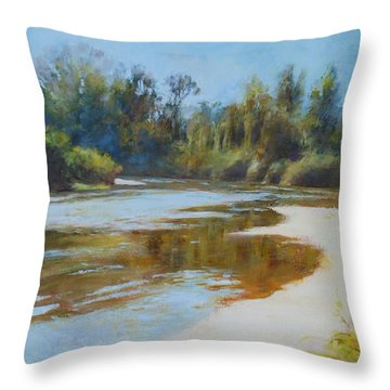 On The River Throw Pillow by Nancy Stutes