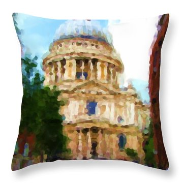 On The Steps Of Saint Pauls Throw Pillow by Jenny Armitage