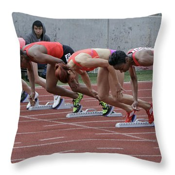 On Your Marks Throw Pillow by Shoal Hollingsworth