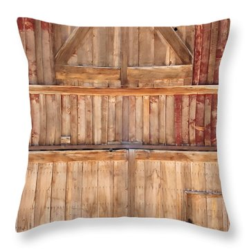 Once Red Doors Throw Pillow by Margie Hurwich