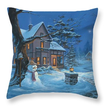 Once Upon A Winter's Night Throw Pillow by Michael Humphries
