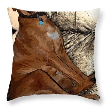 One Cool Dog Throw Pillow by Mim White