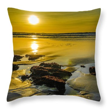 One Oregon Coast Sunset Throw Pillow by Puget  Exposure