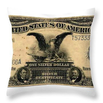 One Silver Dollar Throw Pillow by Lanjee Chee