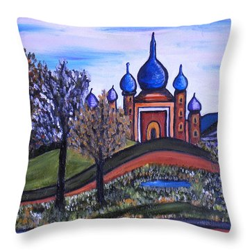 Onion Scape Throw Pillow by Kerry Bennett
