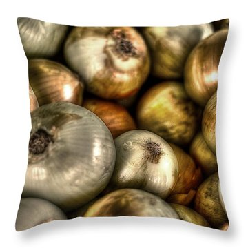 Onions Throw Pillow by David Morefield