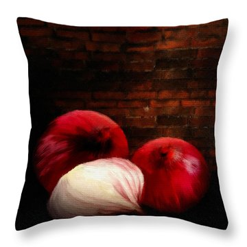 Onions Throw Pillow by Lourry Legarde