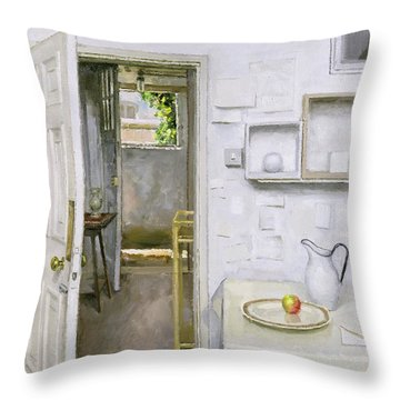 Open Doors With Still Life And Letter Throw Pillow by Charles E Hardaker