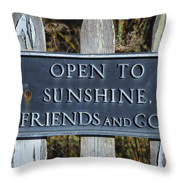 Open To Sunshine Sign Throw Pillow by Garry Gay
