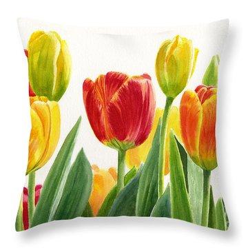 Orange And Yellow Tulips Horizontal Design Throw Pillow by Sharon Freeman