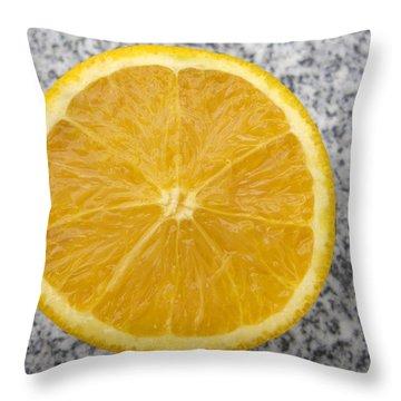 Orange Cut In Half Grey Background Throw Pillow by Matthias Hauser