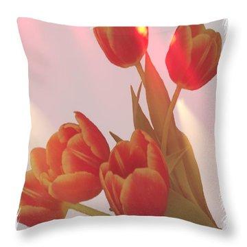 Orange Light Throw Pillow by Debra  Miller