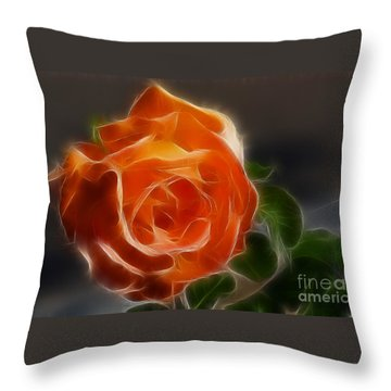 Orange Rose 6220-fractal Throw Pillow by Gary Gingrich Galleries