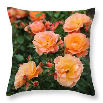 Orange Roses Throw Pillow by Carol Groenen