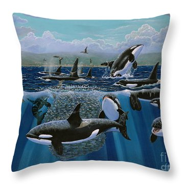 Orca Play Re009 Throw Pillow by Carey Chen