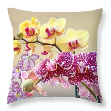 Orchid Art Prints Orchids Flowers Floral Bouquets Throw Pillow by Baslee Troutman