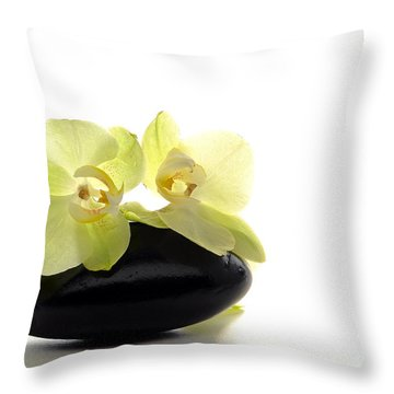 Orchid Flowers On Polished Stone Throw Pillow by Olivier Le Queinec