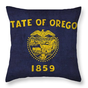 Oregon State Flag Art On Worn Canvas Throw Pillow by Design Turnpike