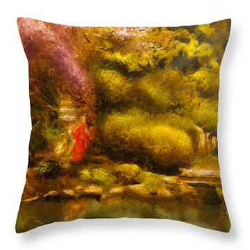 Orient - The Japanese Garden Throw Pillow by Mike Savad