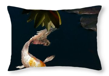 Oriental Koi Fish And Water Lily Flower Throw Pillow by Jennie Marie Schell