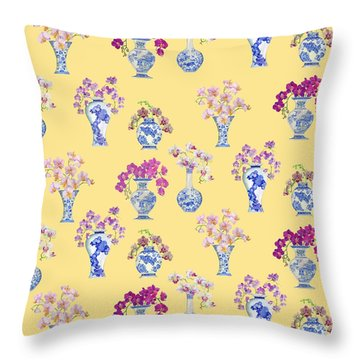 Oriental Vases With Orchids Throw Pillow by Kimberly McSparran