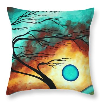 Original Bold Colorful Abstract Landscape Painting Family Joy I By Madart Throw Pillow by Megan Duncanson