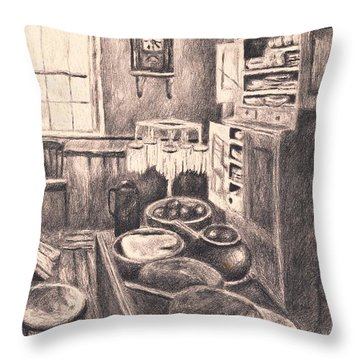 Original Old Fashioned Kitchen Throw Pillow by Kendall Kessler