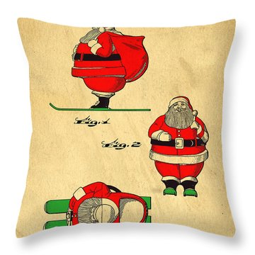Original Patent For Santa On Skis Figure Throw Pillow by Edward Fielding